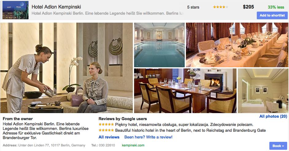 Google Hotelfinder Detailansicht