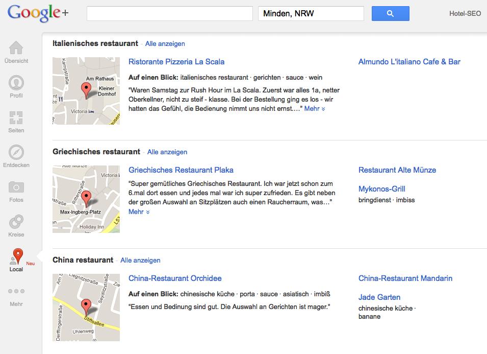 Google+ Local Screenshot Minden