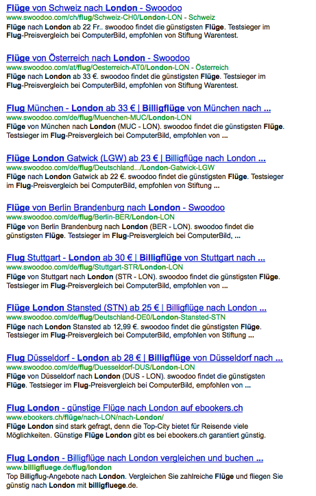 Flüge London SERPs