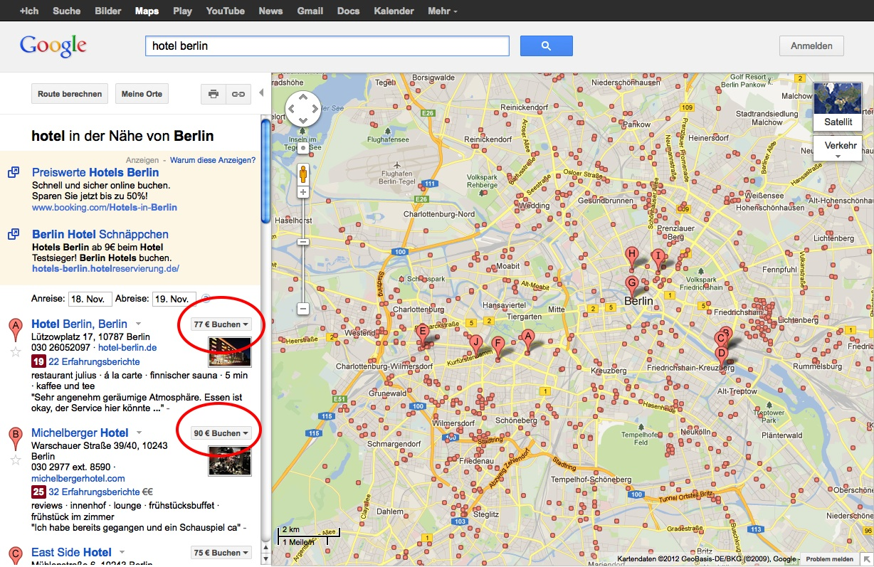 Google Hotel Finder: Berlin
