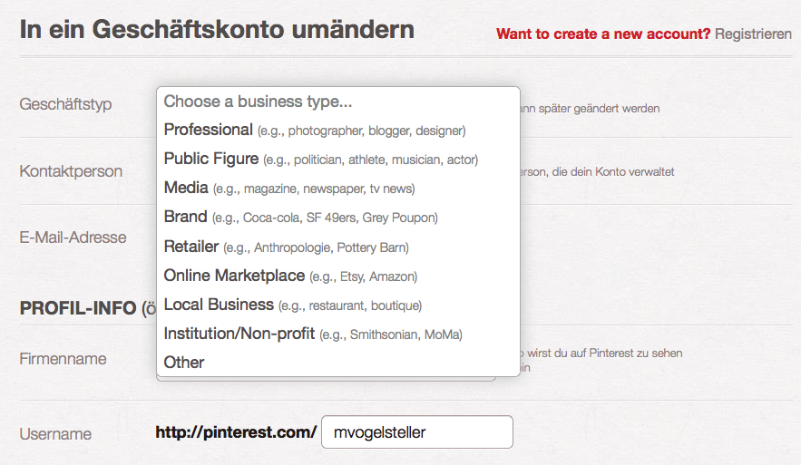 Pinterest Business Page anlegen