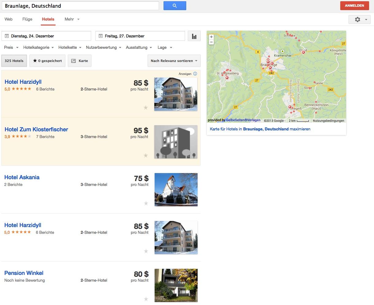 Google Hotelfinder: Hotel in Braunlage suchen