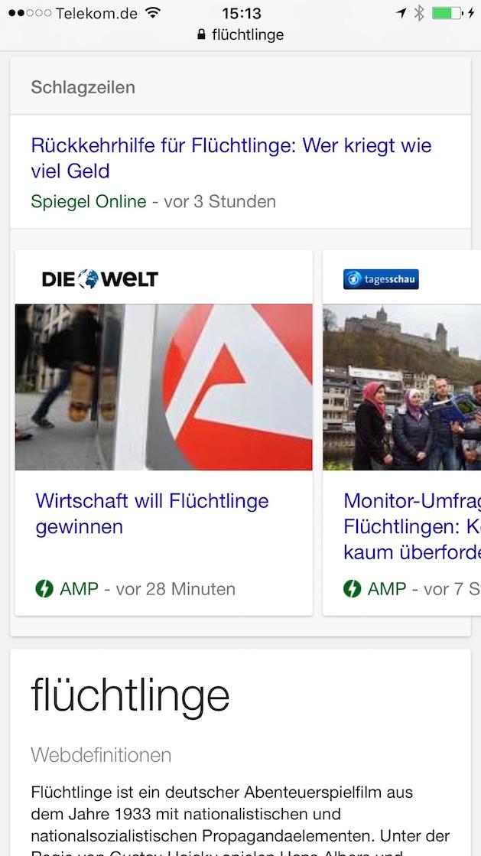 Google AMP-Seiten in mobilen Suchergebnissen