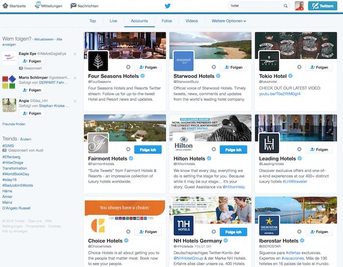 Screenshot: Twitter für Tourismus und Hotels nutzen