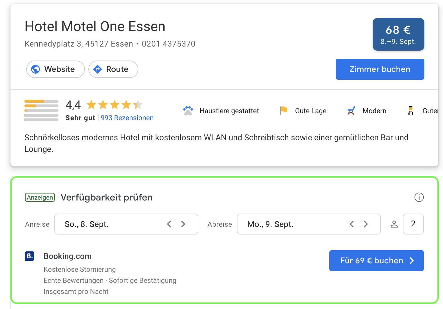 Google Hotel Ads Beispiel