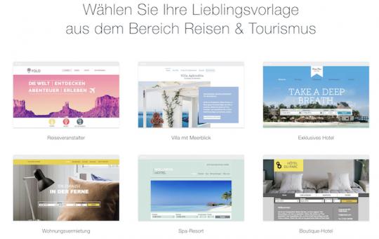 Wix bietet spezielle Designvorlagen für Reiseveranstalter, Hotels und Ferienwohnungen