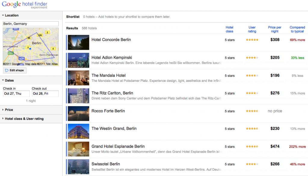 Google Hotel Finder: Hotelsuche in Berlin
