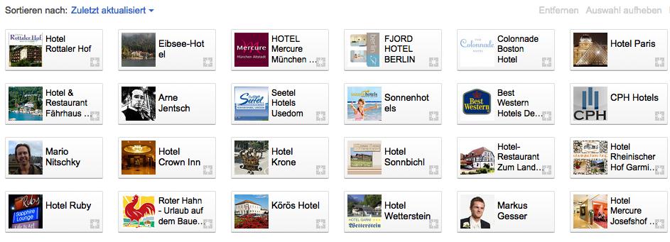 Hotel-Seiten bei Google+