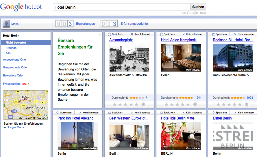 Google Hotpot Hotels